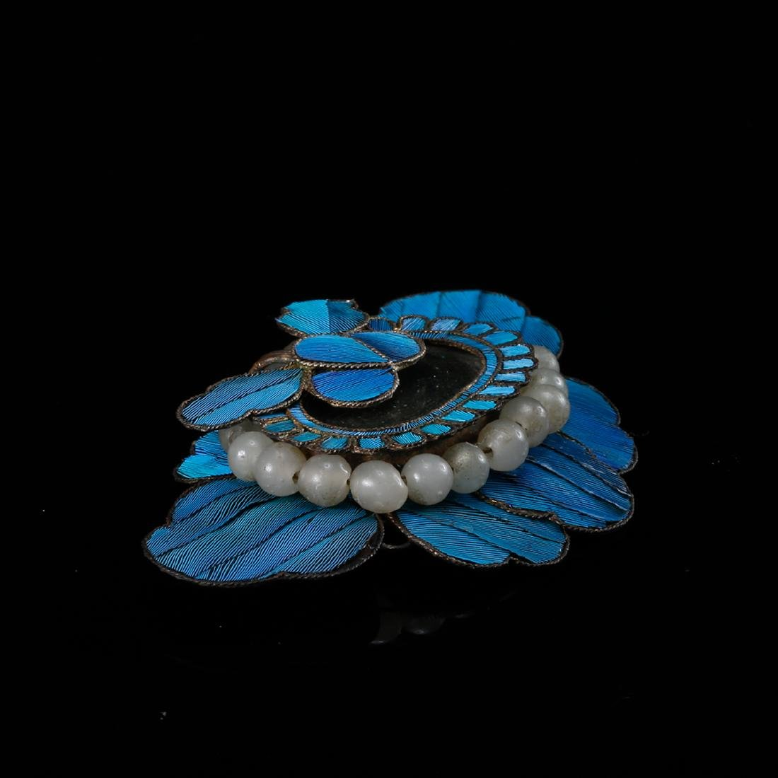 CHINESE KINGFISHER FEATHER ON SILVER HAIRPIN - 4