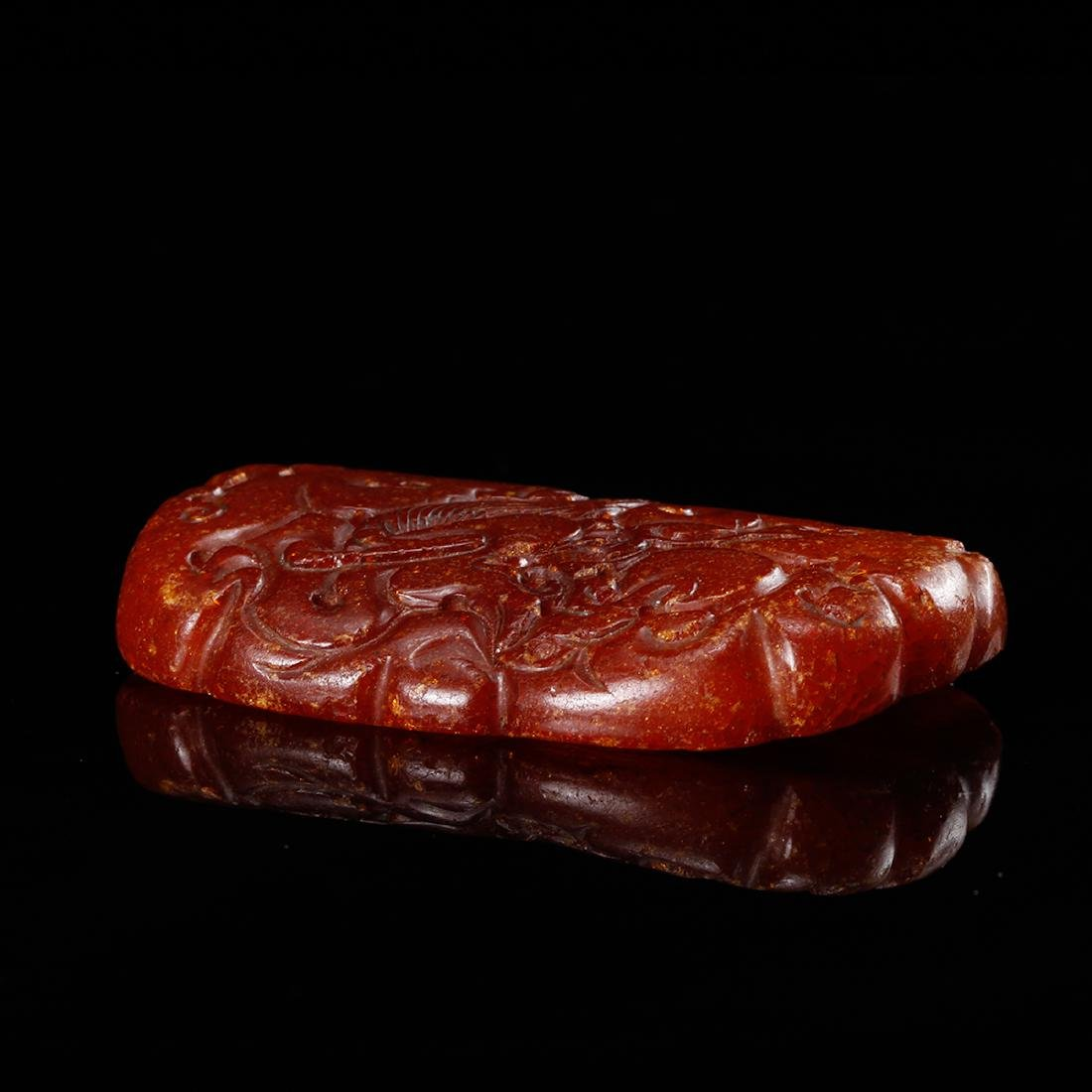 CHINESE HONEY AMBER CARVED PENDANT - 4
