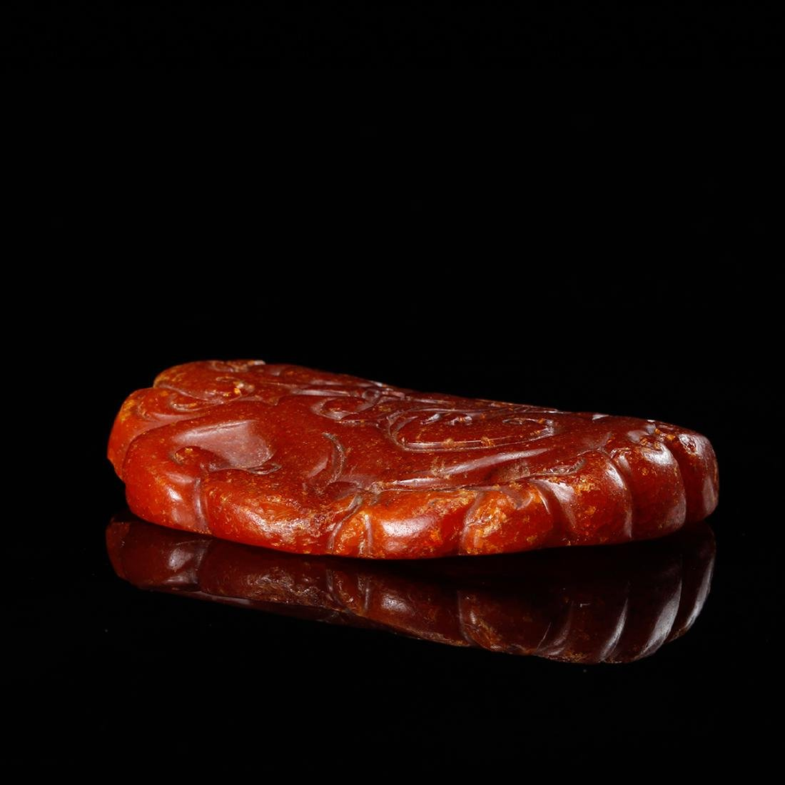 CHINESE HONEY AMBER CARVED PENDANT - 6