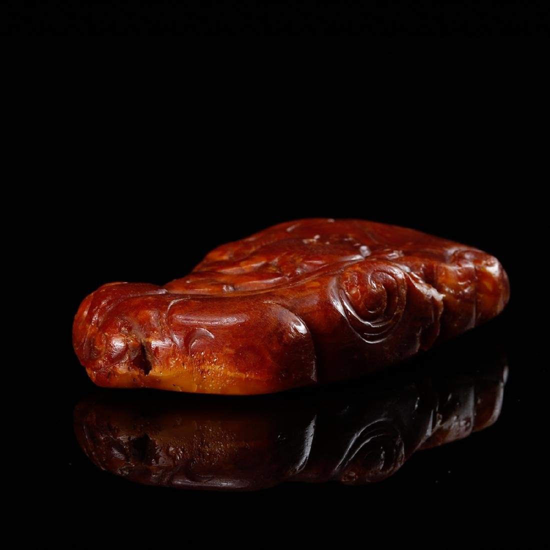 CHINESE HONEY AMBER CARVED PENDANT - 5