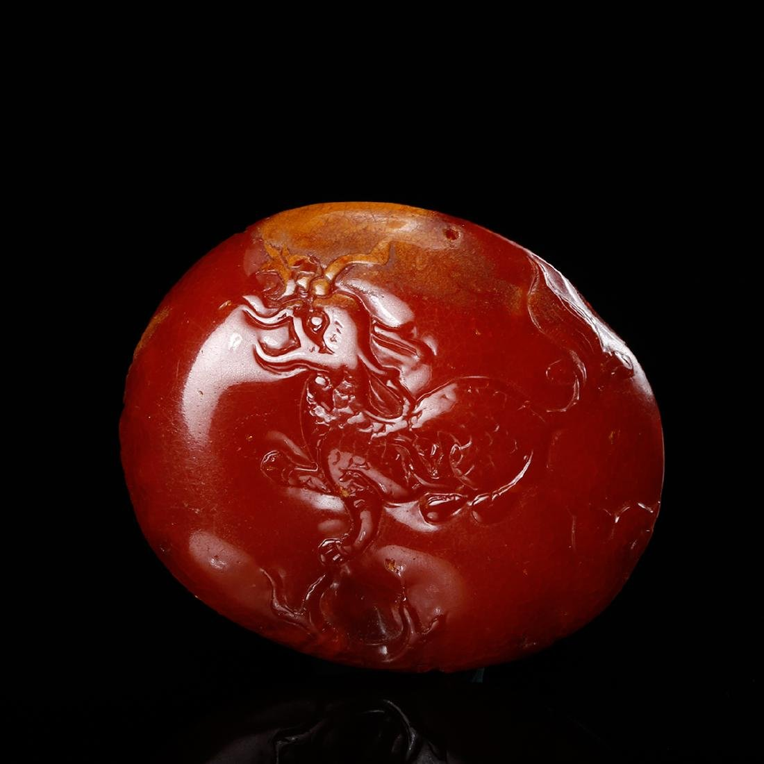 CHINESE HONEY AMBER CARVED PENDANT