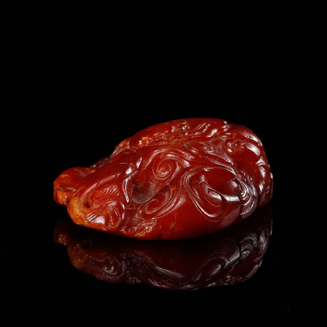 CHINESE HONEY AMBER CARVED PENDANT - 7