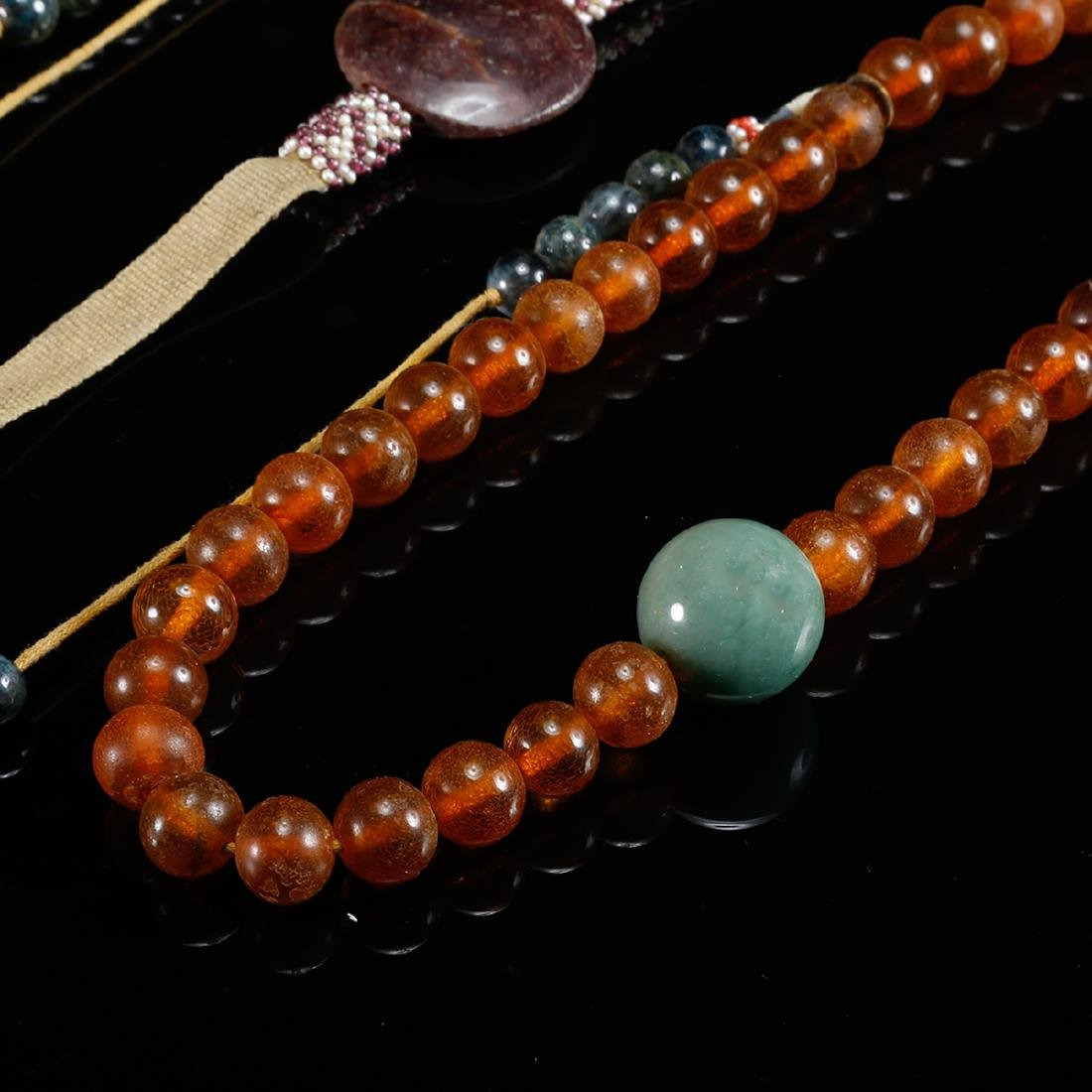 CHINESE AMBER COURT BEADS NECKLACE, QING - 6