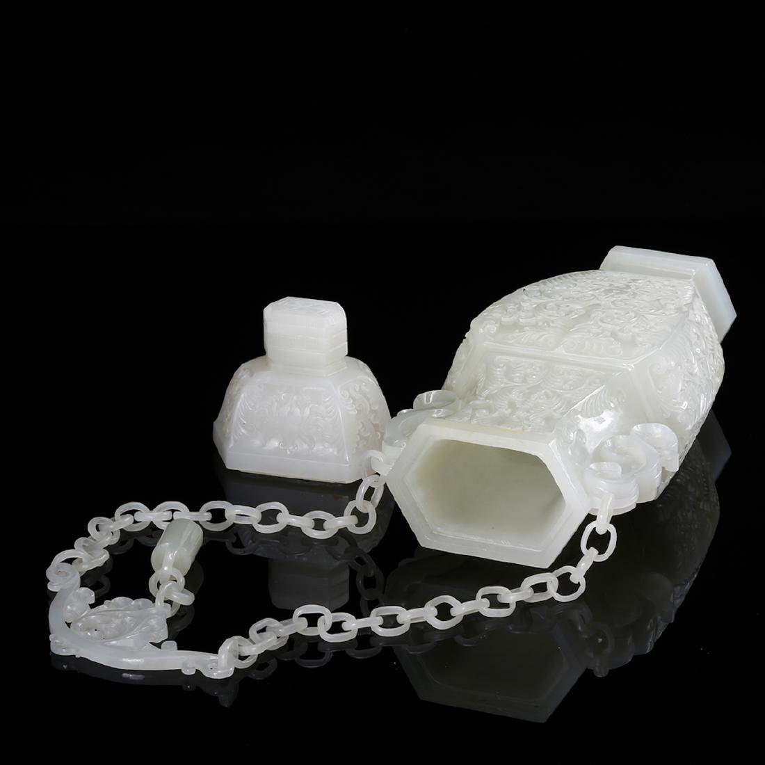 CHINESE WHITE JADE COVER VASE, QING - 6
