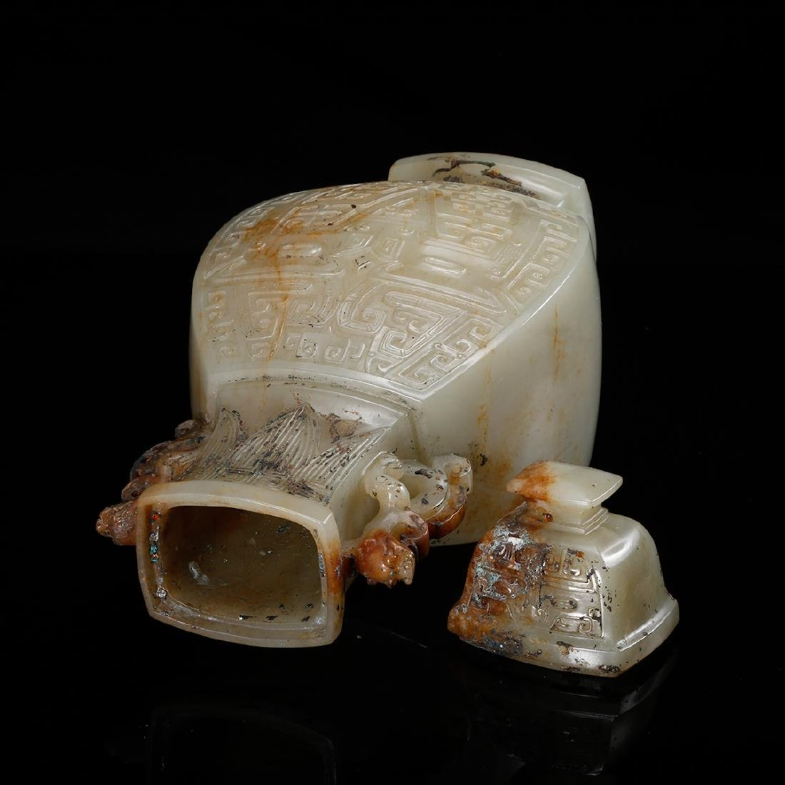 CHINESE CELADON JADE COVER VASE, QING - 5
