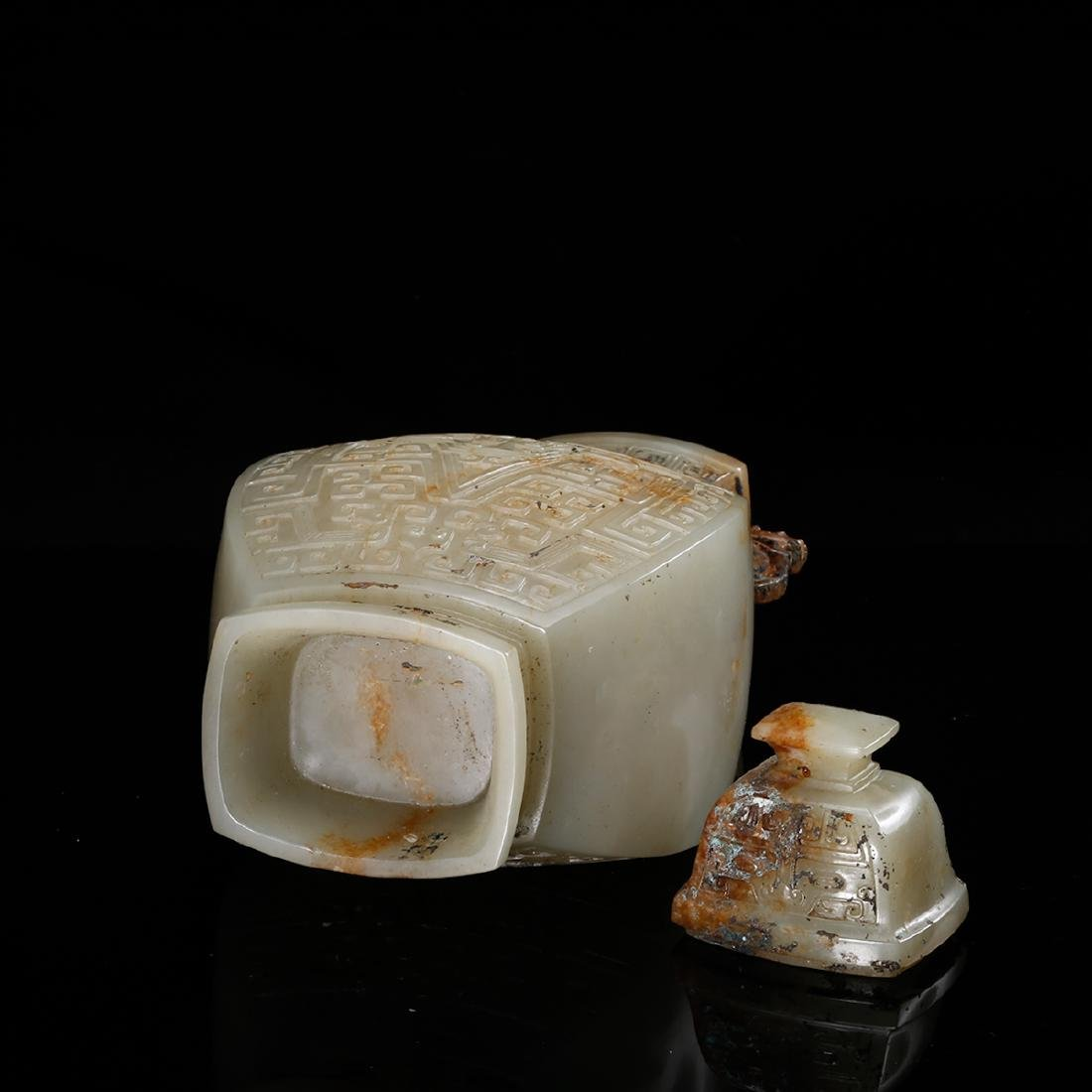 CHINESE CELADON JADE COVER VASE, QING - 6