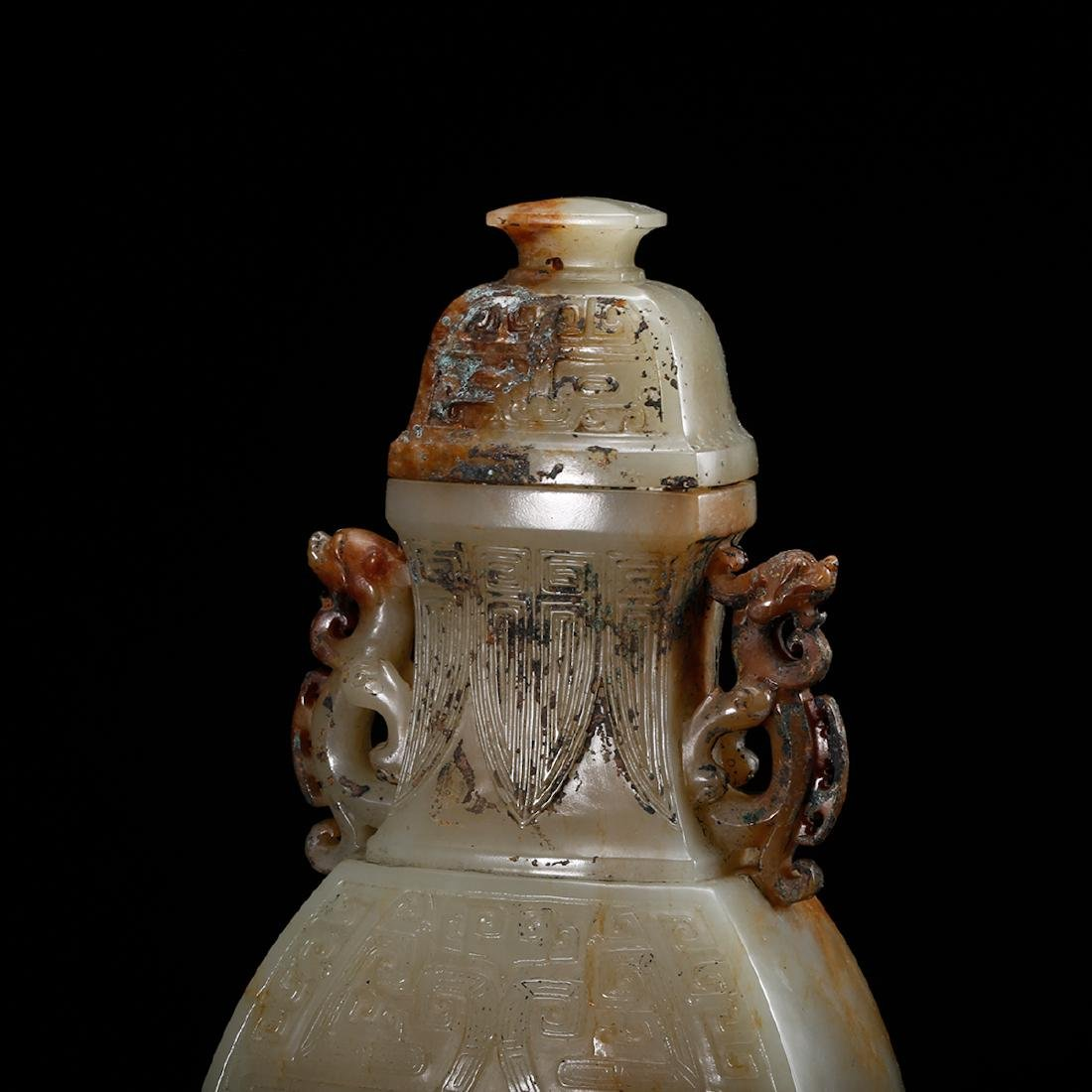 CHINESE CELADON JADE COVER VASE, QING - 7