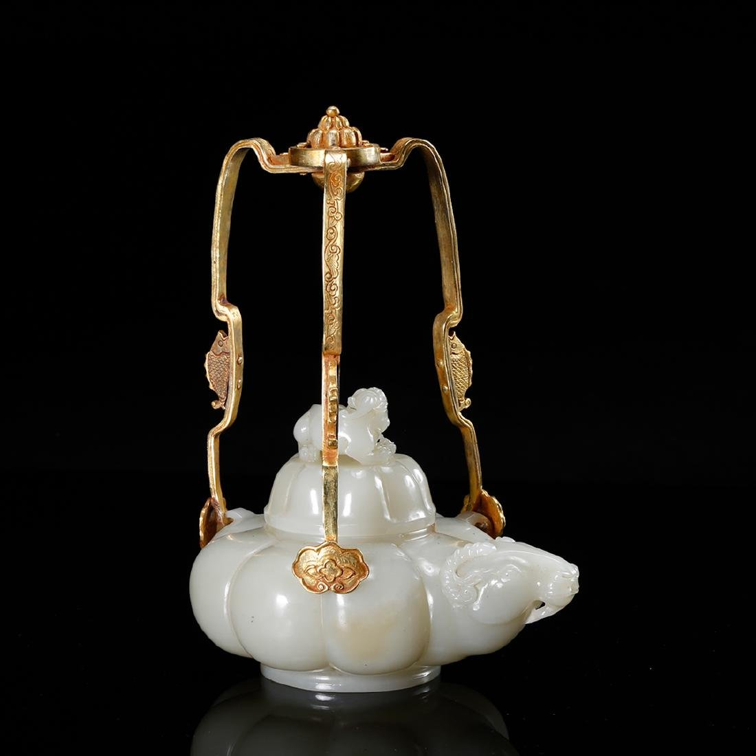 CHINESE WHITE JADE TEAPOT WITH MARK, QING - 3