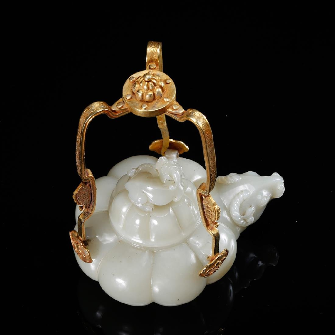 CHINESE WHITE JADE TEAPOT WITH MARK, QING - 5