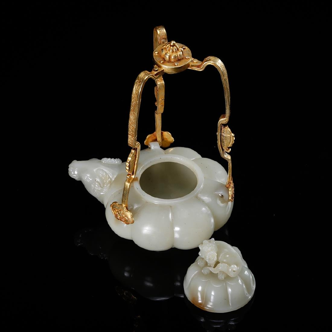 CHINESE WHITE JADE TEAPOT WITH MARK, QING - 6