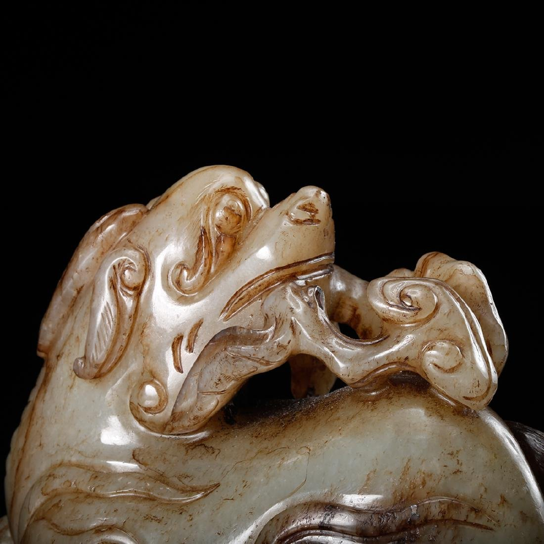 CHINESE CELADON JADE CARVED FOOLION - 7