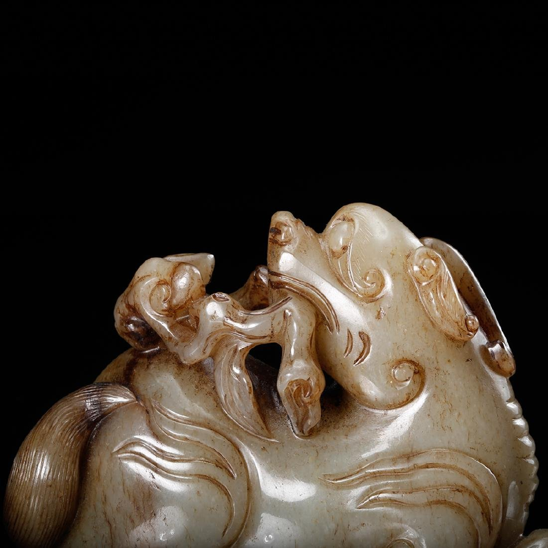 CHINESE CELADON JADE CARVED FOOLION - 8
