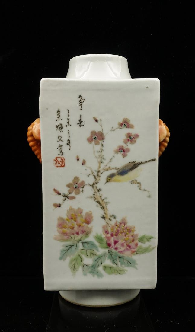 CHINESE QIANJIANG PAINTED PORCELAIN CONG VASES, PA - 8