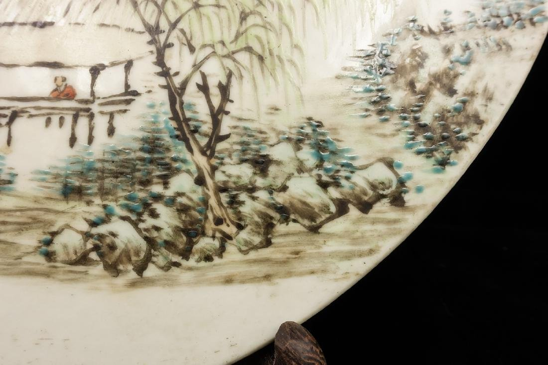 CHINESE QIANJIANG PAINTED PORCELAIN PLAQUE - 7