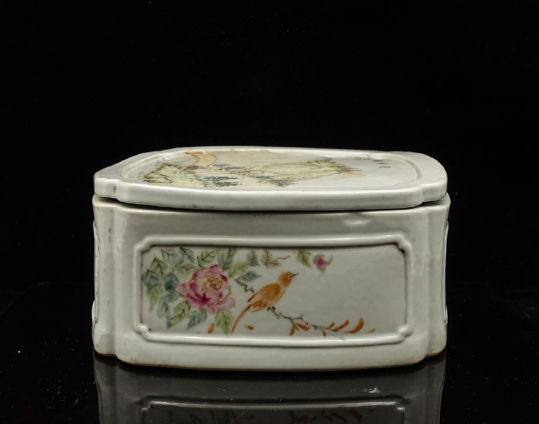 CHINESE QIANJIANG PAINTED PORCELAIN COVER BOX