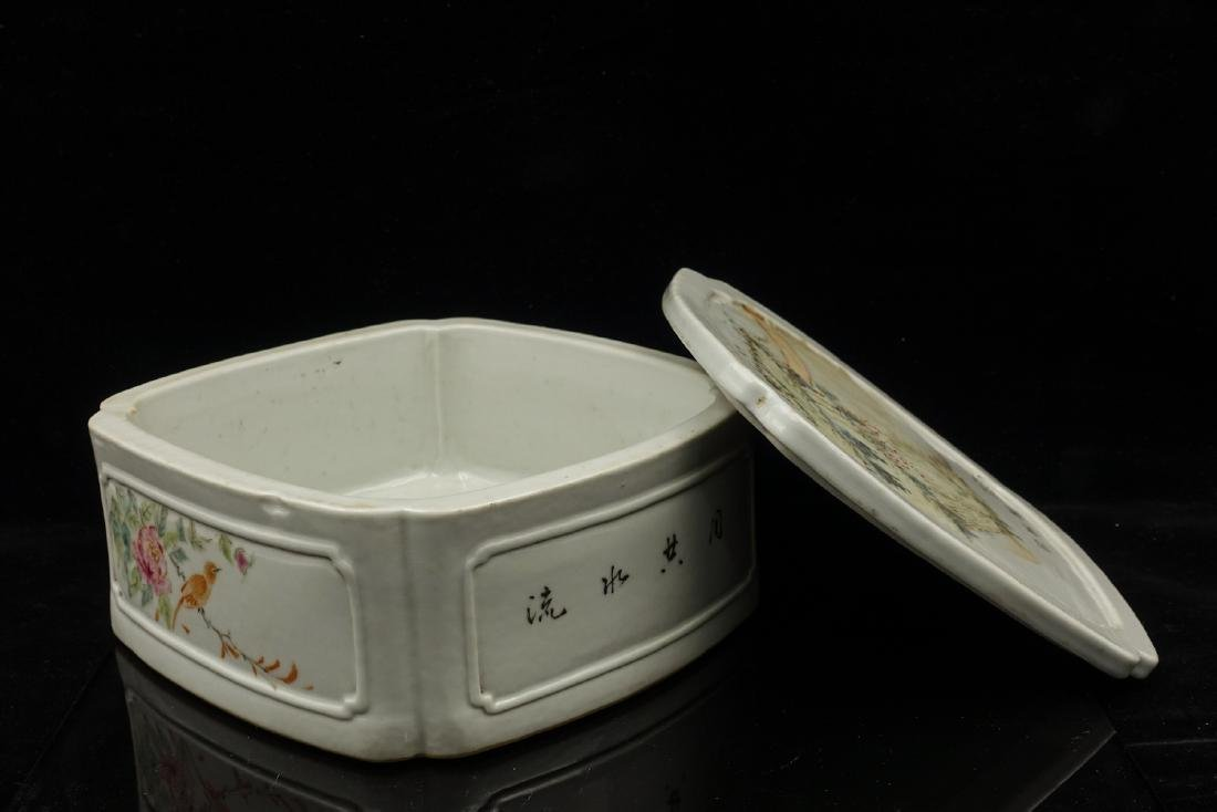 CHINESE QIANJIANG PAINTED PORCELAIN COVER BOX - 2