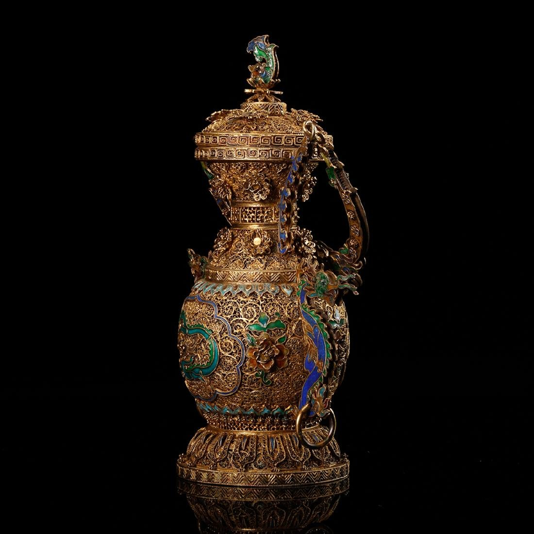 CHINESE GILT SILVER WIRE WITH ENAMEL - 3