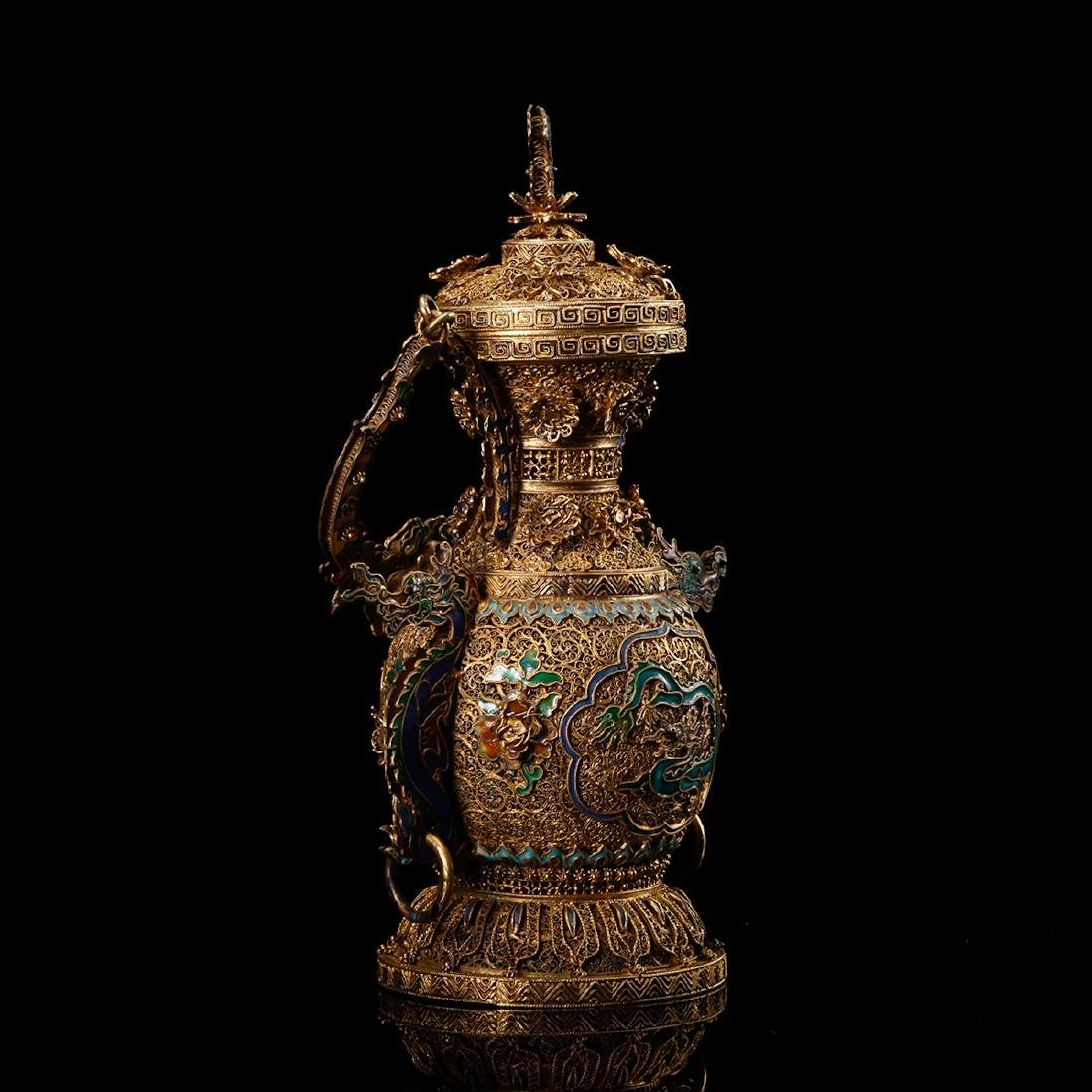 CHINESE GILT SILVER WIRE WITH ENAMEL - 4