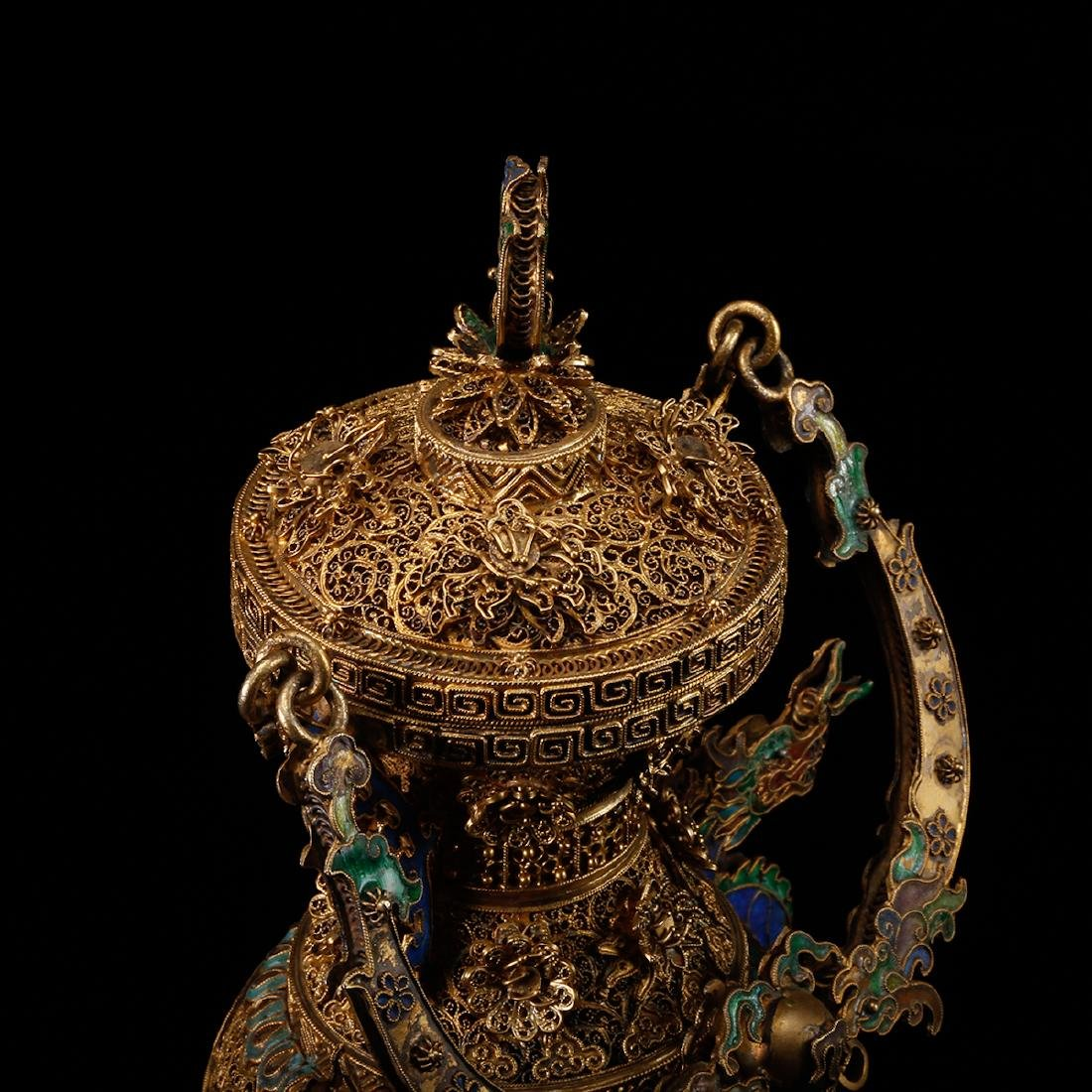 CHINESE GILT SILVER WIRE WITH ENAMEL - 6