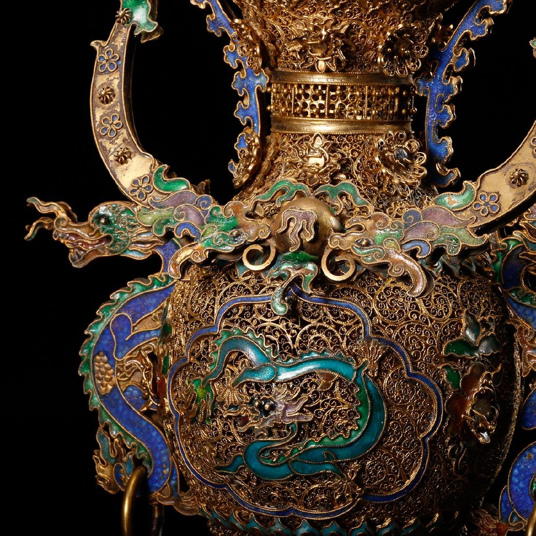 CHINESE GILT SILVER WIRE WITH ENAMEL - 7