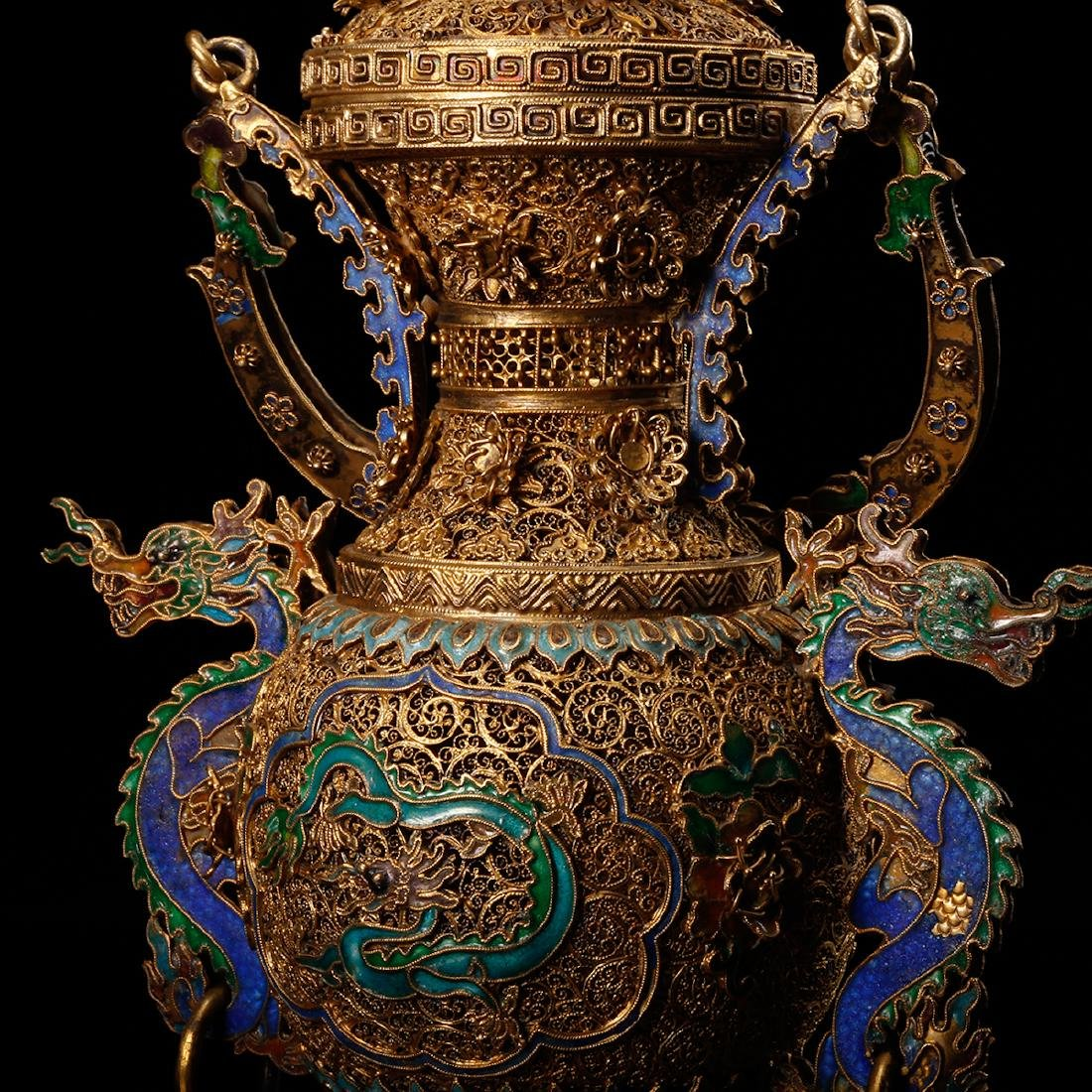 CHINESE GILT SILVER WIRE WITH ENAMEL - 8