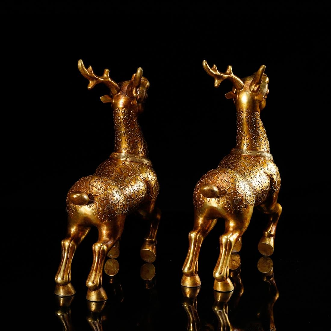 CHINESE GILT BRONZE DEER, PAIR - 4