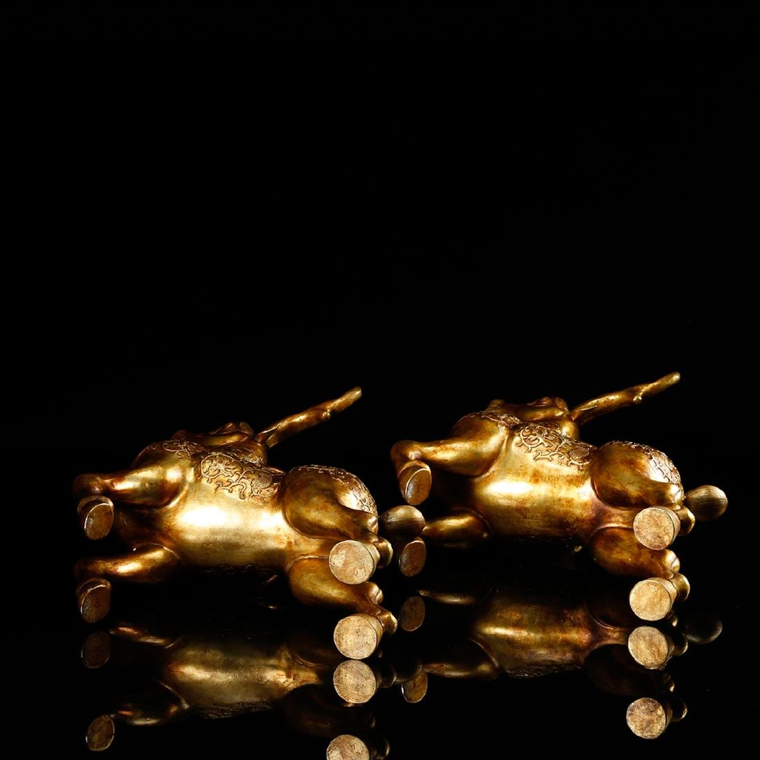 CHINESE GILT BRONZE DEER, PAIR - 6