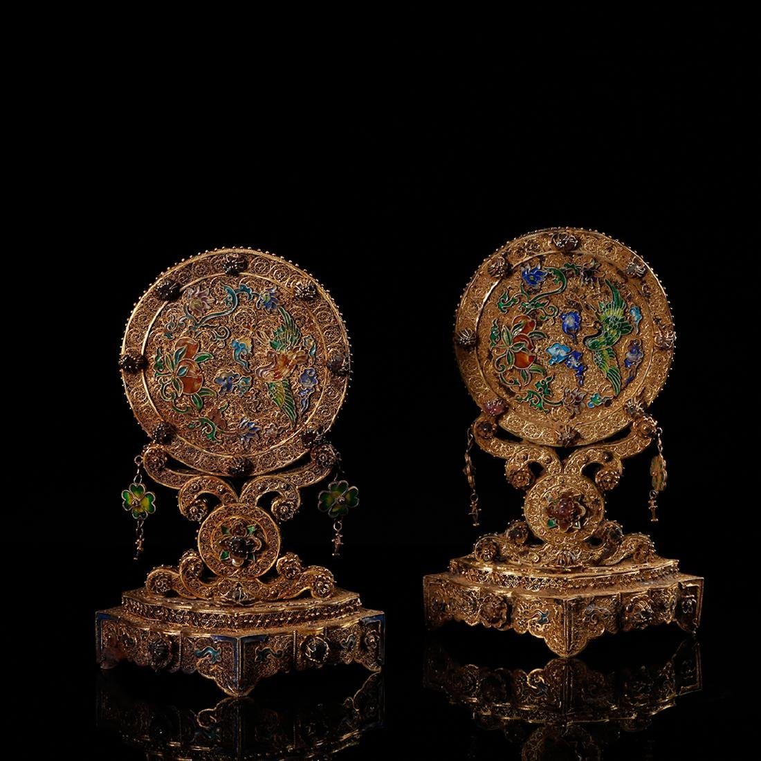 CHINESE GILT SILVER WIRE TABLE SCREENS, PAIR