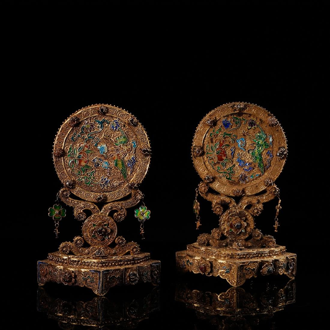 CHINESE GILT SILVER WIRE TABLE SCREENS, PAIR - 2
