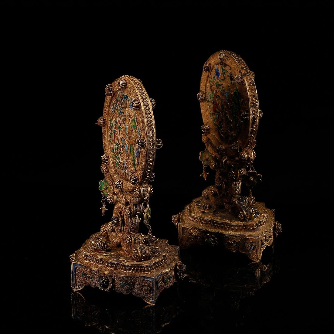 CHINESE GILT SILVER WIRE TABLE SCREENS, PAIR - 4