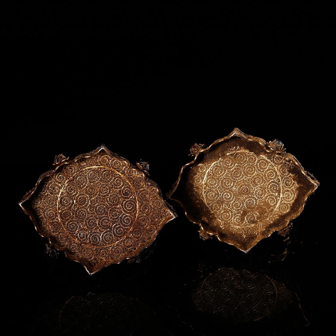 CHINESE GILT SILVER WIRE TABLE SCREENS, PAIR - 5