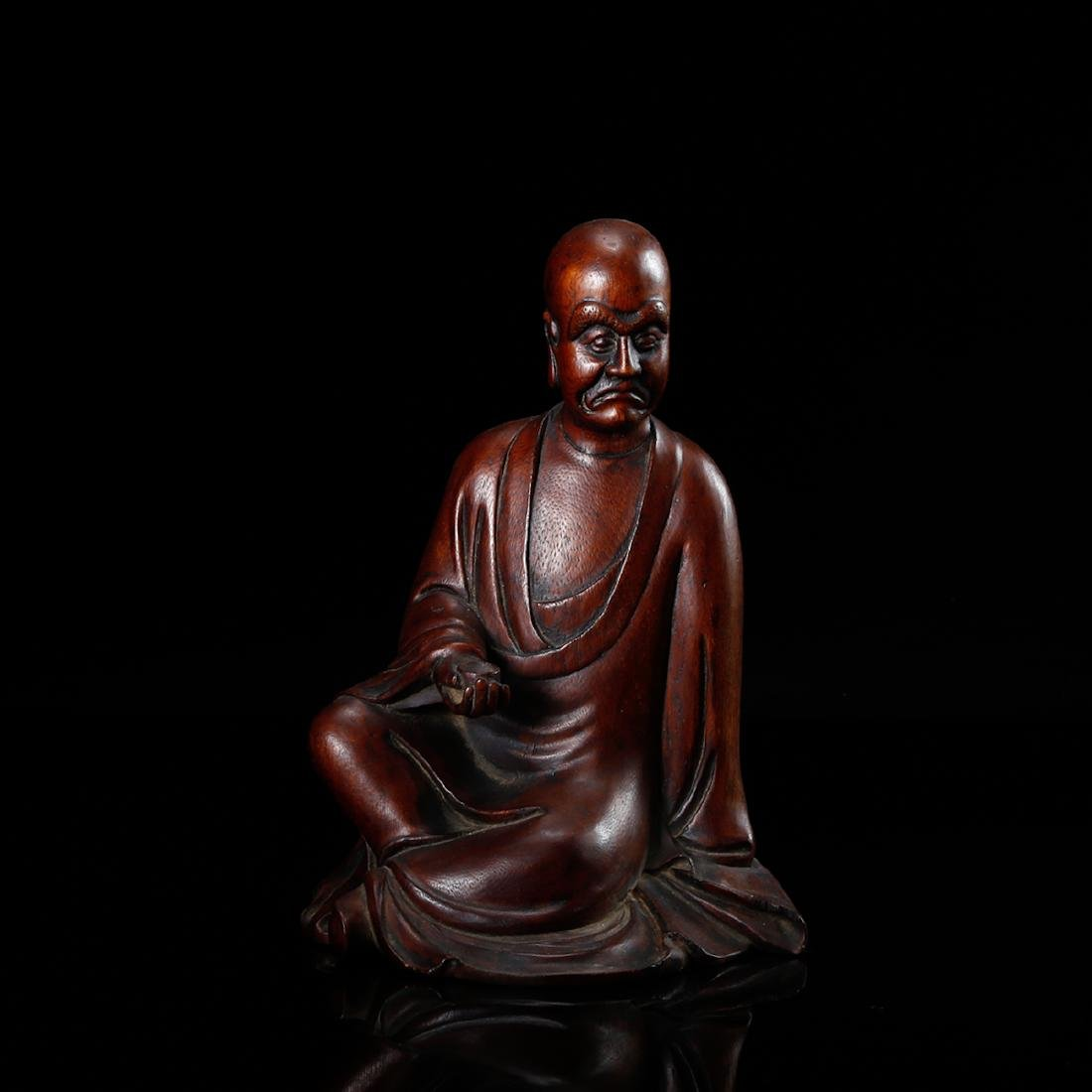 CHINESE HARDWOOD CARVED FIGURE OF LOHAN