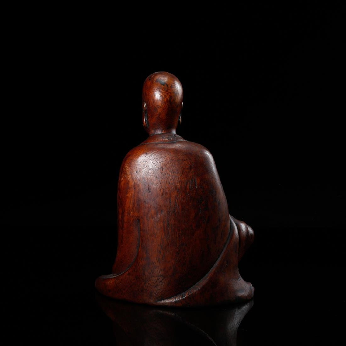 CHINESE HARDWOOD CARVED FIGURE OF LOHAN - 2
