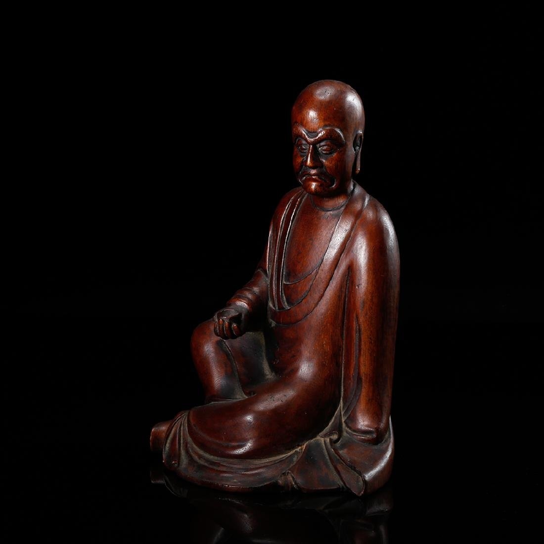 CHINESE HARDWOOD CARVED FIGURE OF LOHAN - 3
