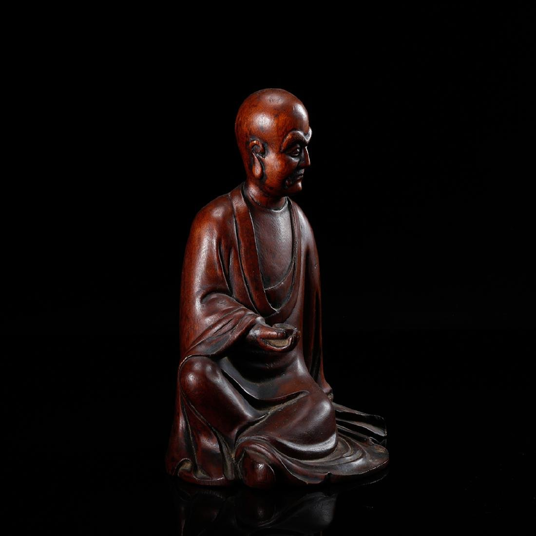 CHINESE HARDWOOD CARVED FIGURE OF LOHAN - 4