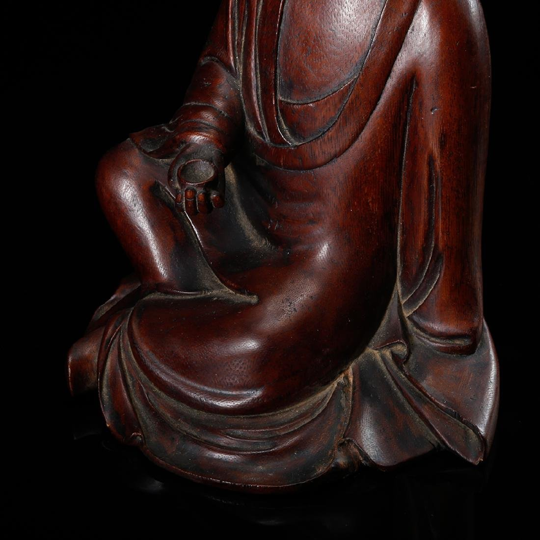 CHINESE HARDWOOD CARVED FIGURE OF LOHAN - 6
