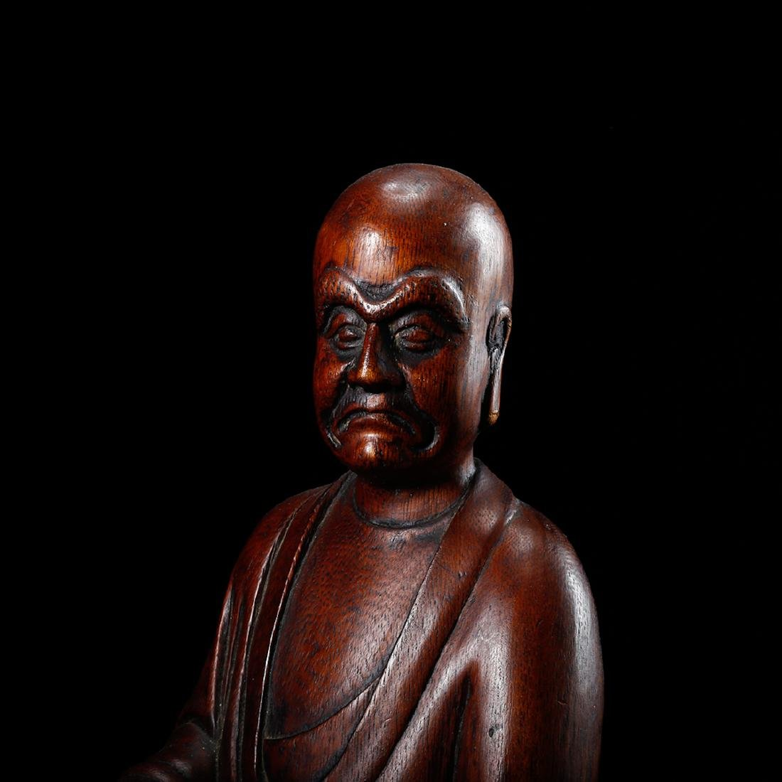 CHINESE HARDWOOD CARVED FIGURE OF LOHAN - 7