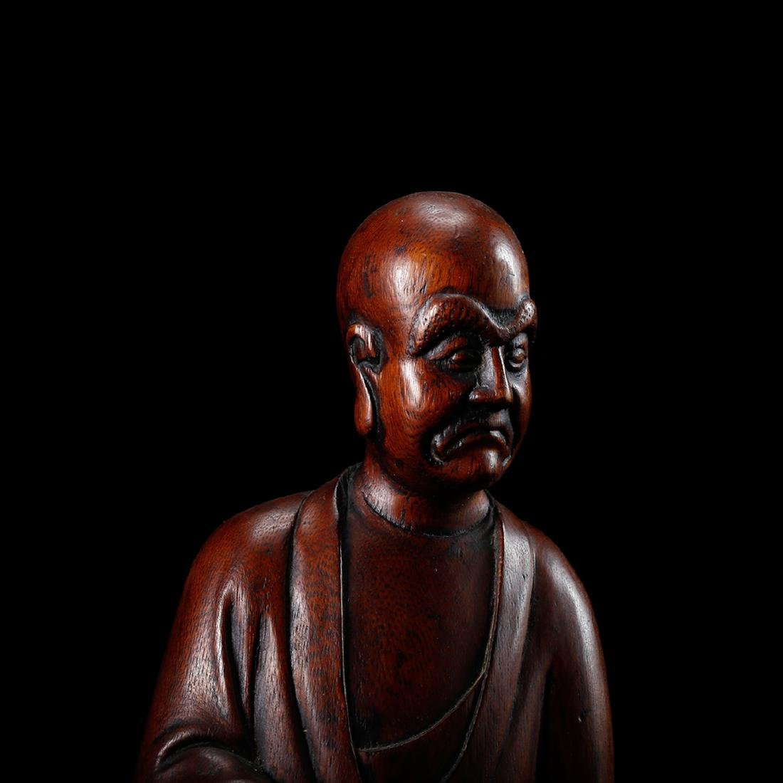 CHINESE HARDWOOD CARVED FIGURE OF LOHAN - 8