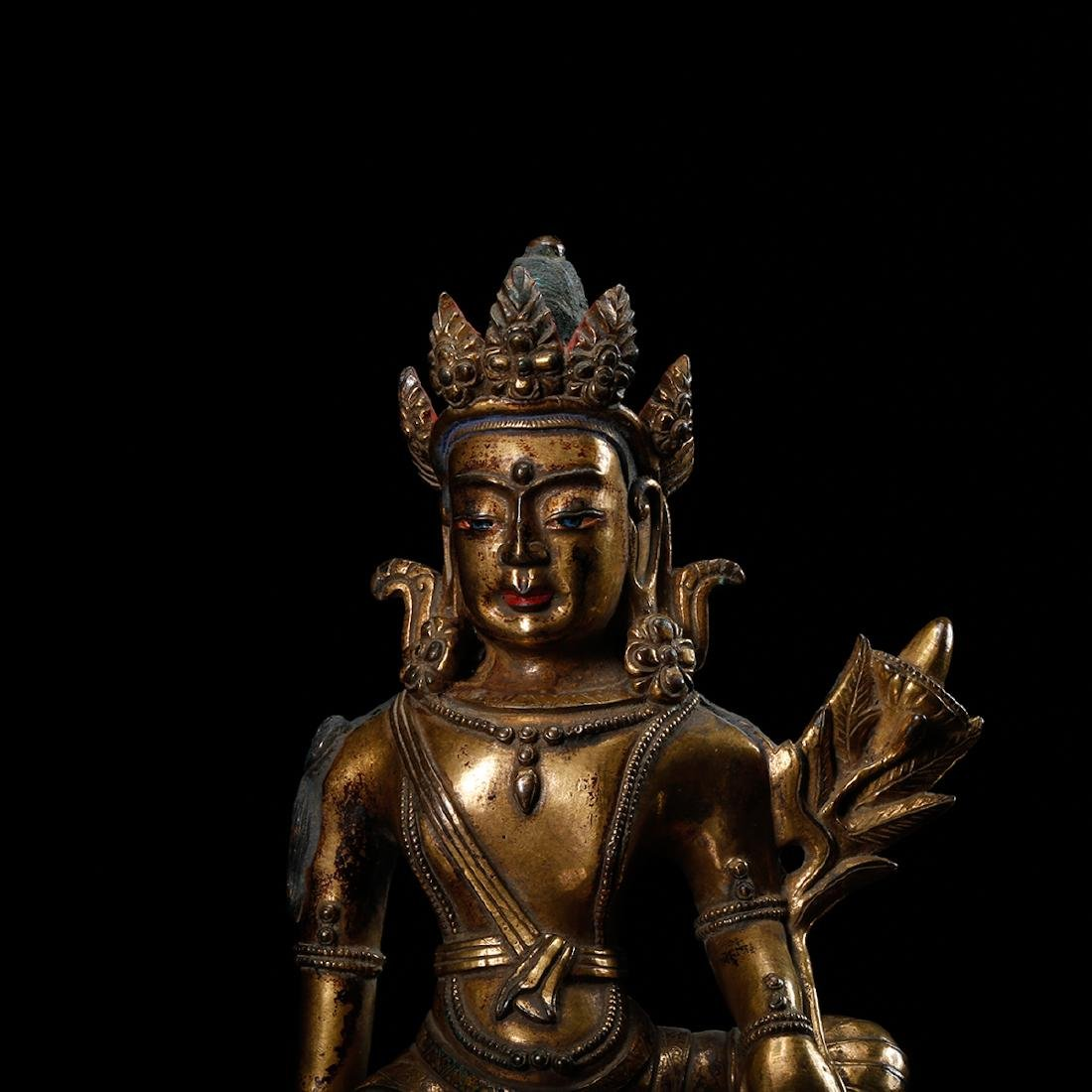 CHINESE GILT BRONZE SEATED GUANYIN - 6