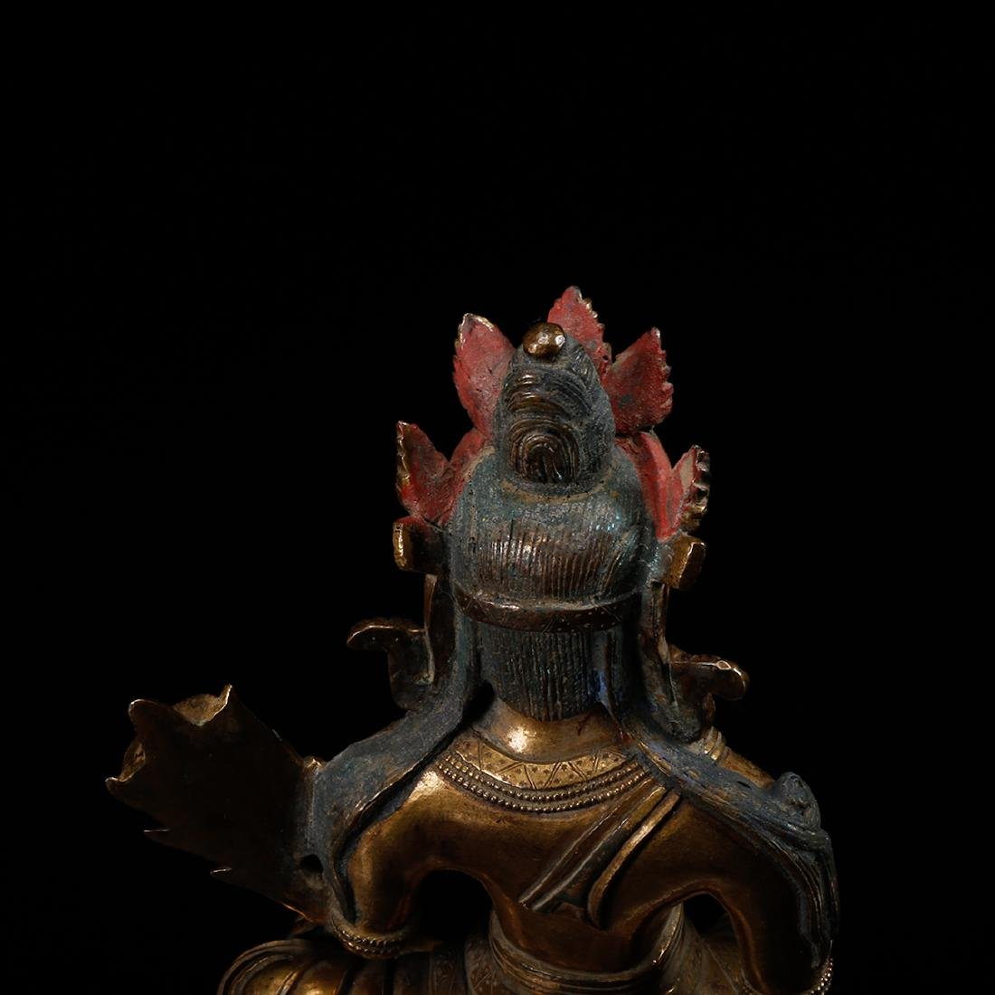 CHINESE GILT BRONZE SEATED GUANYIN - 7