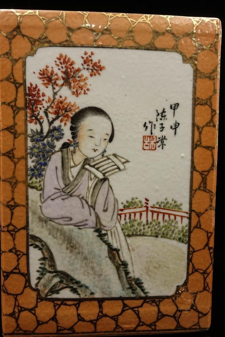 CHINESE QIANJIANG PAINTED PORCELAIN BRUSH POT - 9
