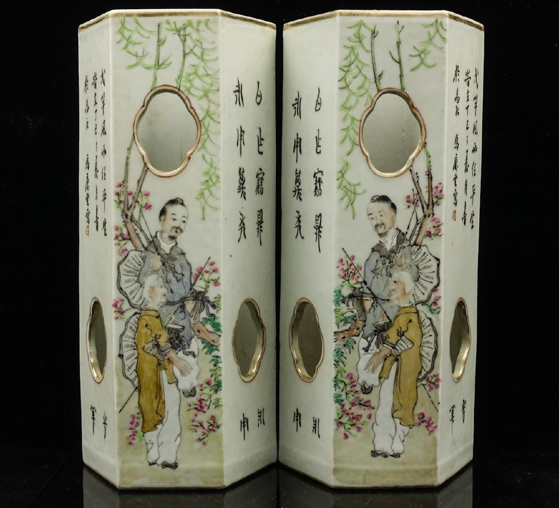 CHINESE QIANJIANG PAINTED PORCELAIN HAT STANDS, PA