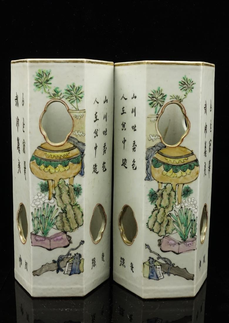 CHINESE QIANJIANG PAINTED PORCELAIN HAT STANDS, PA - 2