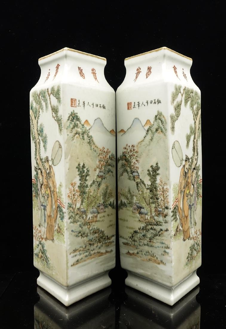 CHINESE QIANJIANG PAINTED PORCELAIN VASES, PAIR