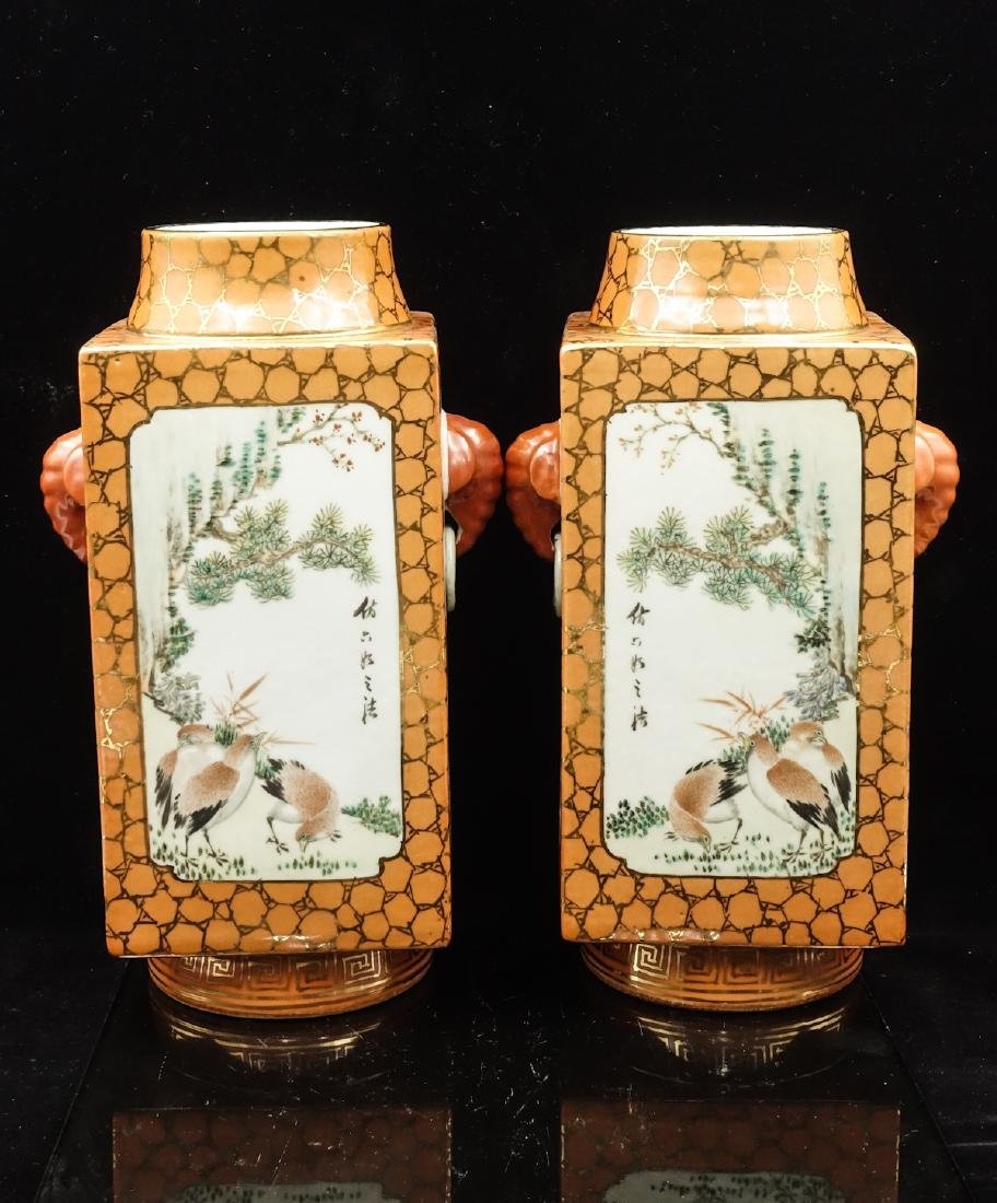 CHINESE QIANJIANG PAINTED PORCELAIN VASES, PAIR - 4