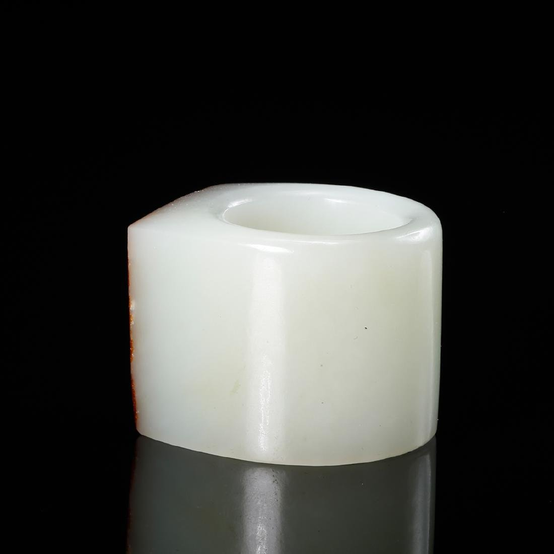 CHINESE WHITE JADE THUMB RING WITH RUSSET - 2