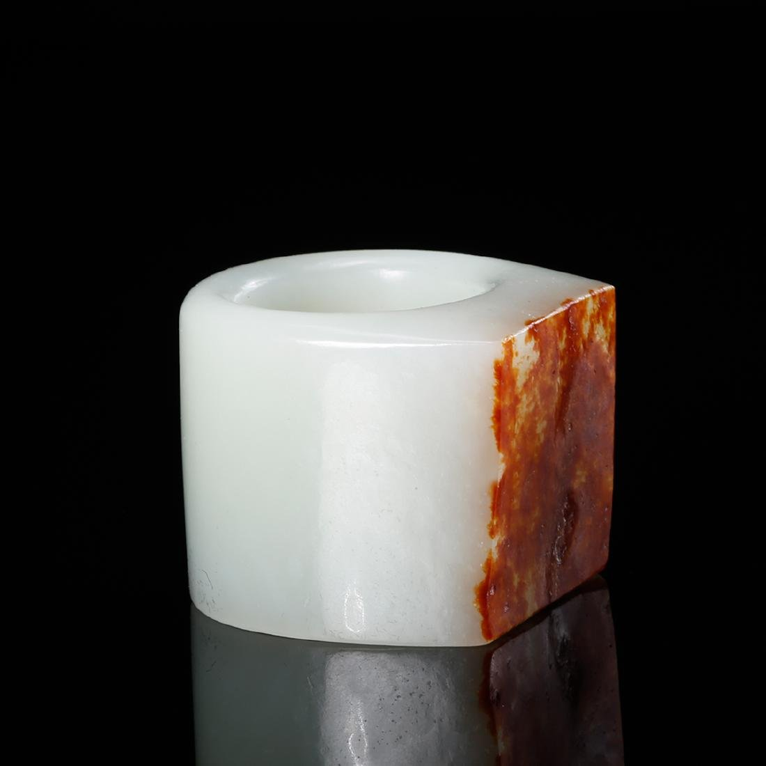 CHINESE WHITE JADE THUMB RING WITH RUSSET - 4