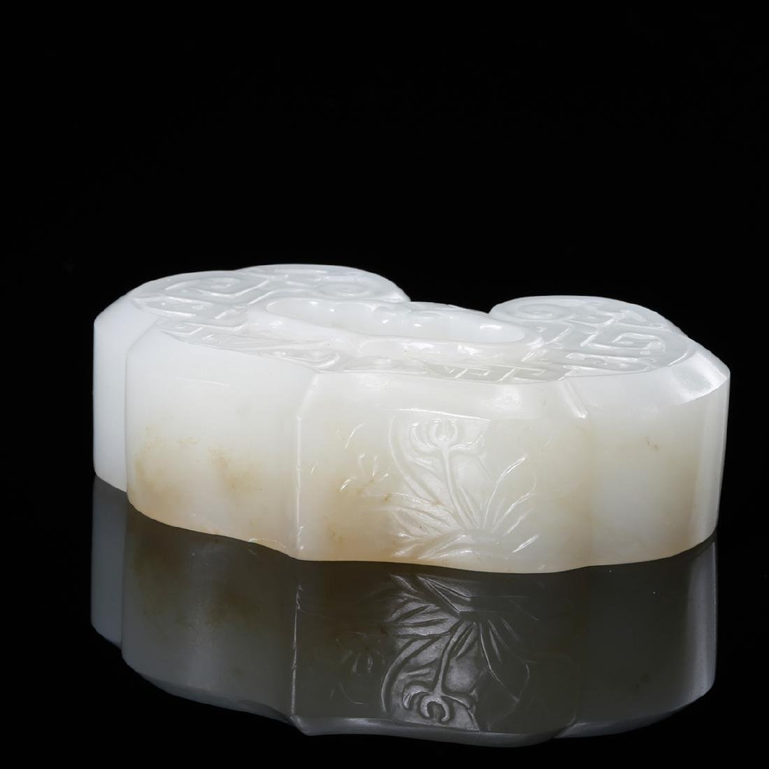 CHINESE WHITE JADE RUYI INK WELL - 3