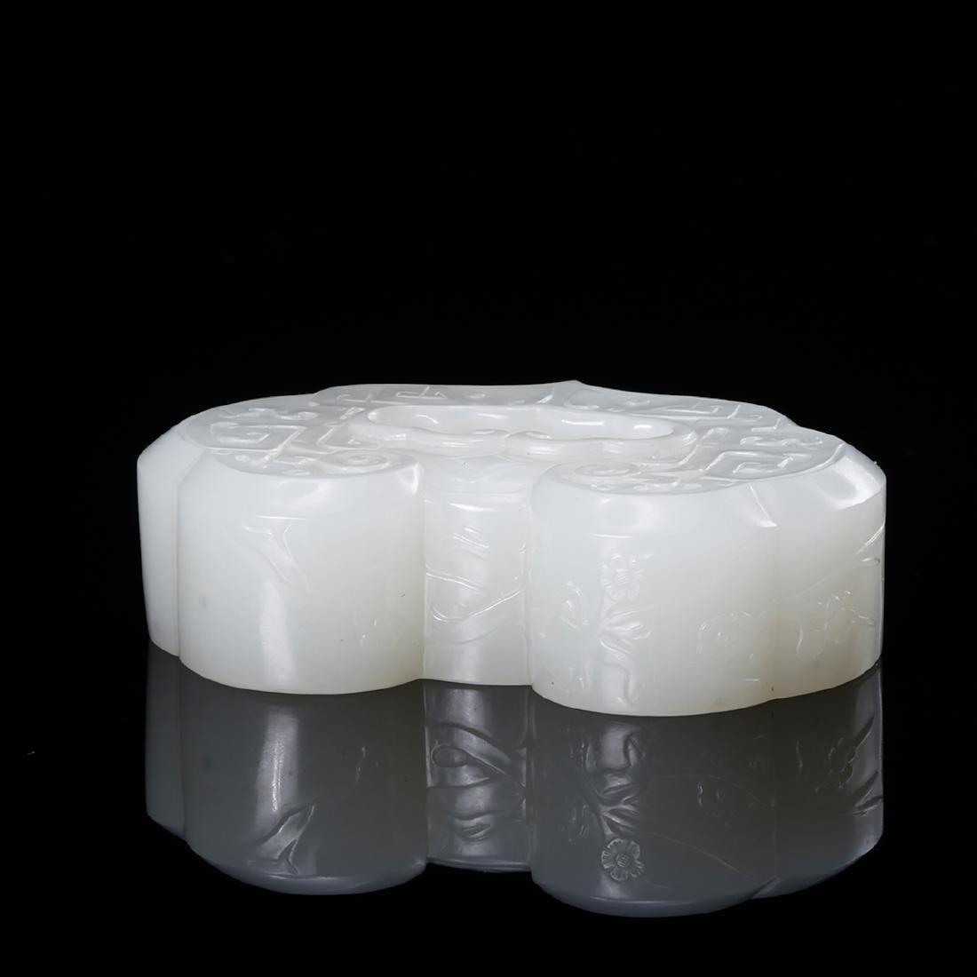 CHINESE WHITE JADE RUYI INK WELL - 5