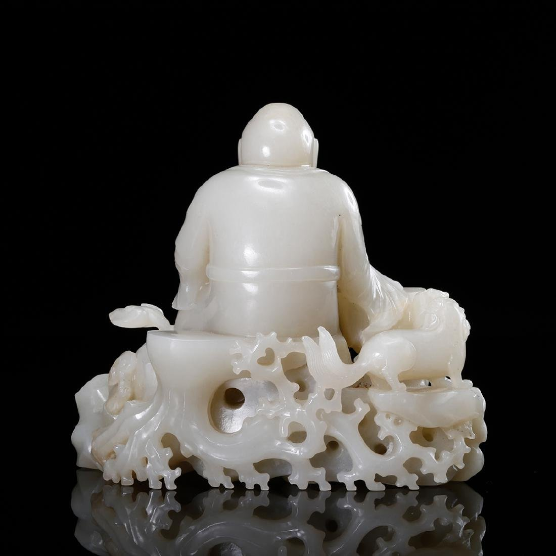 CHINESE WHITE JADE CARVED LOHAN - 2